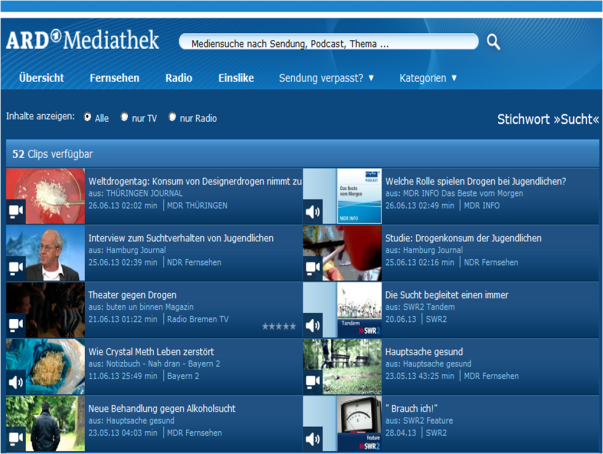 Sucht ARD Mediathek